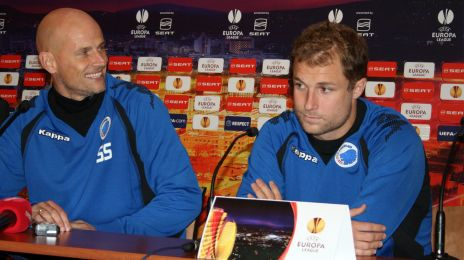 Ståle og Hjalte til pressemøde før FCK-PSV i november 2009