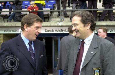 Roy Hodgson og Per Bjerregaard før kampen...