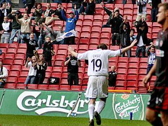 Lasse Qvist har scoret sit første mål i PARKEN. © FCK.DK